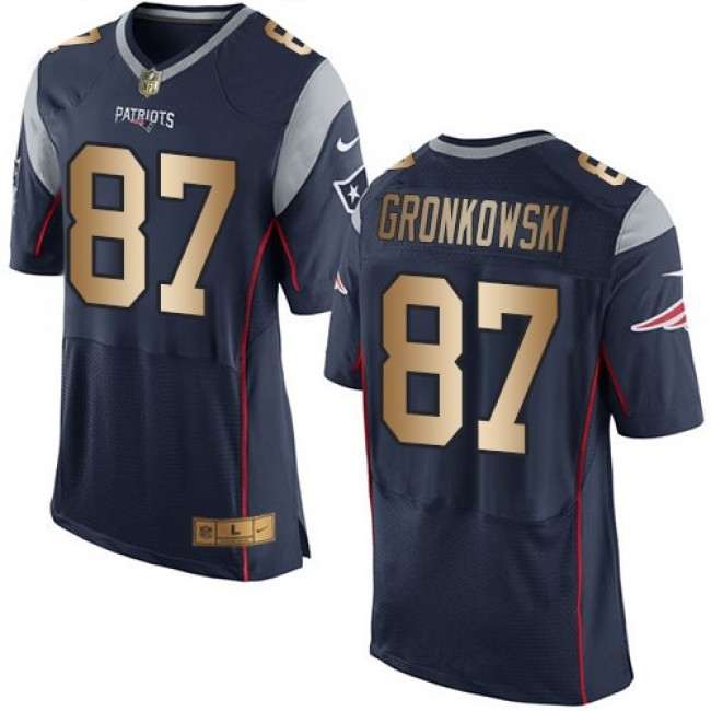 Nike Patriots #87 Rob Gronkowski Navy Blue Team Color Men's Stitched NFL New Elite Gold Jersey