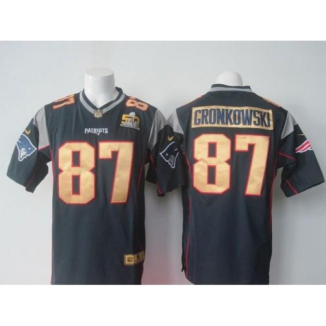 Nike Patriots #87 Rob Gronkowski Navy Blue Team Color Super Bowl 50 Collection Men's Stitched NFL Elite Jersey