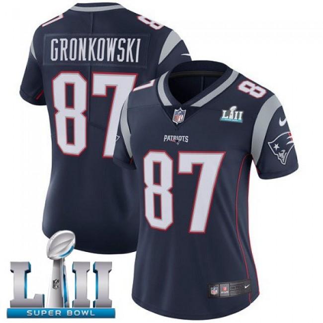 Women's Patriots #87 Rob Gronkowski Navy Blue Team Color Super Bowl LII Stitched NFL Vapor Untouchable Limited Jersey