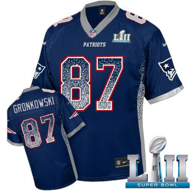 New England Patriots #87 Rob Gronkowski Navy Blue Team Color Super Bowl LII Youth Stitched NFL Elite Drift Fashion Jersey