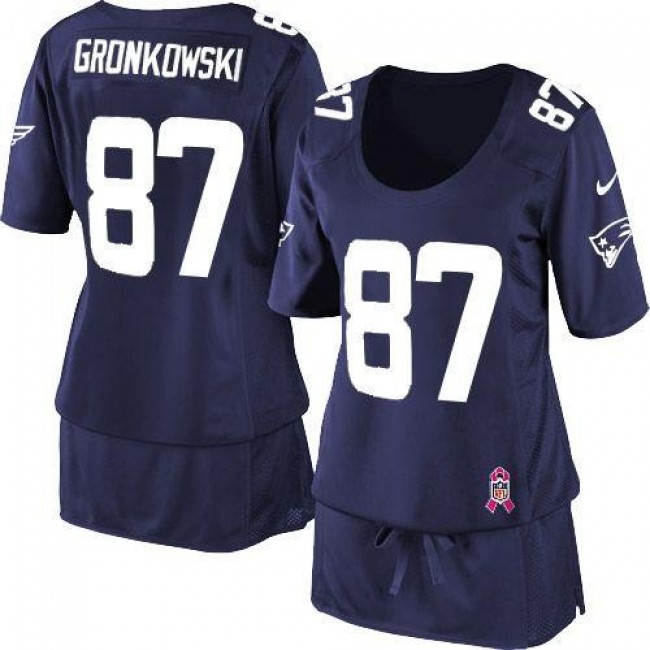 Women's Patriots #87 Rob Gronkowski Navy Blue Team Color Breast Cancer Awareness Stitched NFL Elite Jersey