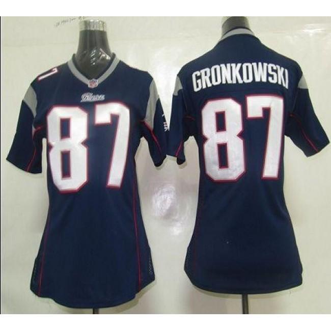 Women's Patriots #87 Rob Gronkowski Navy Blue Team Color Stitched NFL Elite Jersey