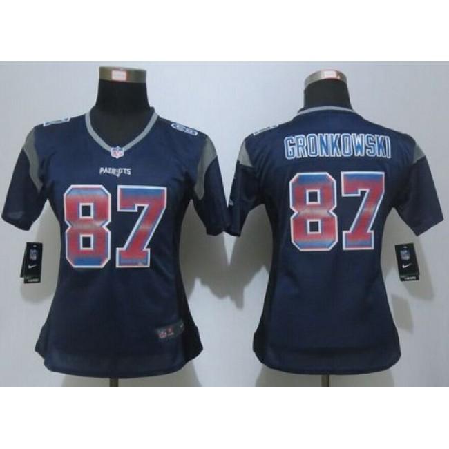 Women's Patriots #87 Rob Gronkowski Navy Blue Team Color Stitched NFL Elite Strobe Jersey