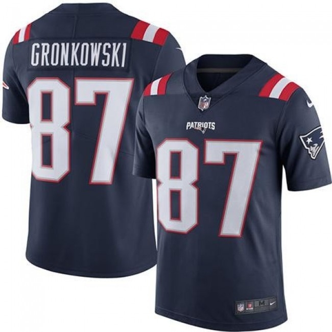 New England Patriots #87 Rob Gronkowski Navy Blue Youth Stitched NFL Limited Rush Jersey