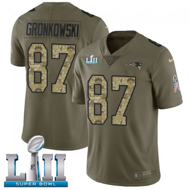 New England Patriots #87 Rob Gronkowski Olive-Camo Super Bowl LII Youth Stitched NFL Limited 2017 Salute to Service Jersey