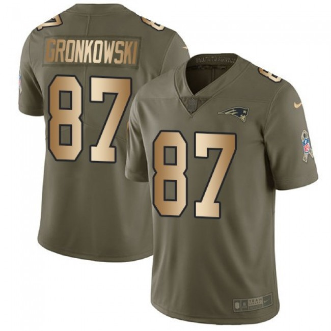 Nike Patriots #87 Rob Gronkowski Olive/Gold Men's Stitched NFL Limited 2017 Salute To Service Jersey