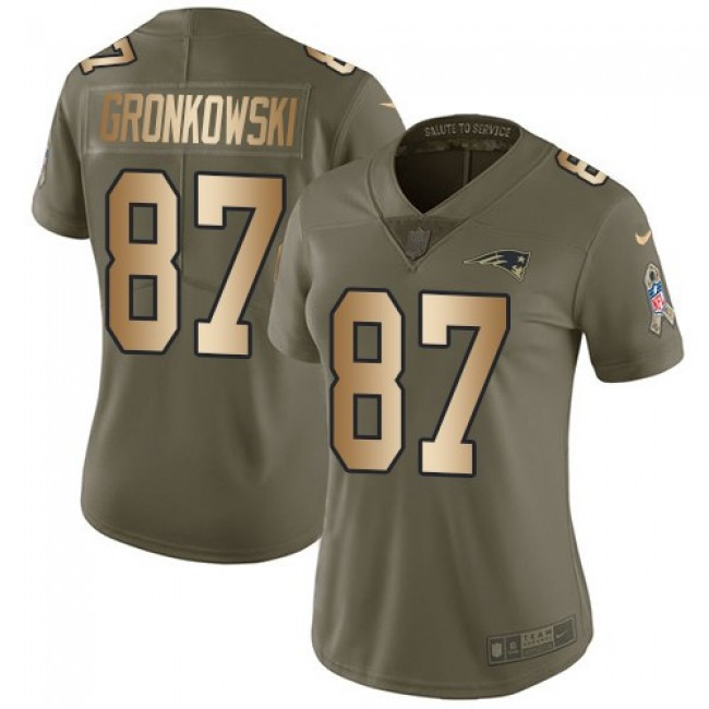 Women's Patriots #87 Rob Gronkowski Olive Gold Stitched NFL Limited 2017 Salute to Service Jersey
