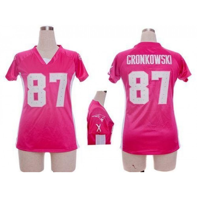 Women's Patriots #87 Rob Gronkowski Pink Draft Him Name Number Top Stitched NFL Elite Jersey