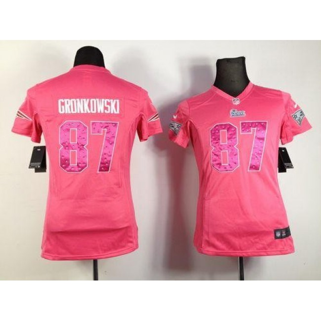 Women's Patriots #87 Rob Gronkowski Pink Sweetheart Stitched NFL Elite Jersey