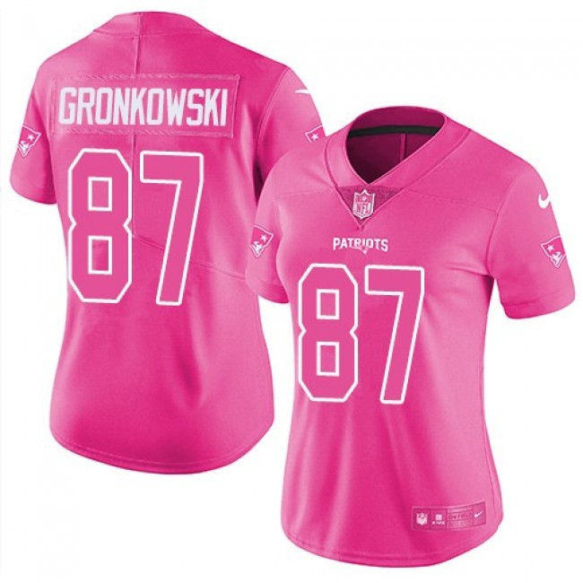 Women's Patriots #87 Rob Gronkowski Pink Stitched NFL Limited Rush Jersey