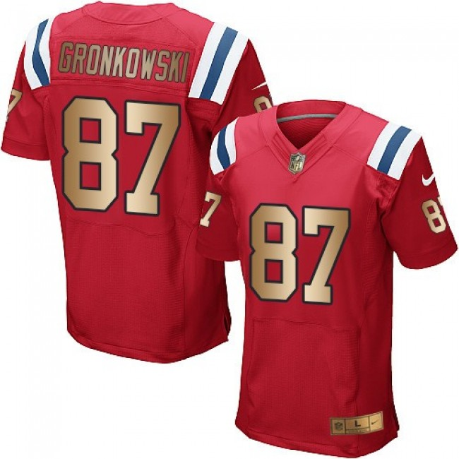 Nike Patriots #87 Rob Gronkowski Red Alternate Men's Stitched NFL Elite Gold Jersey