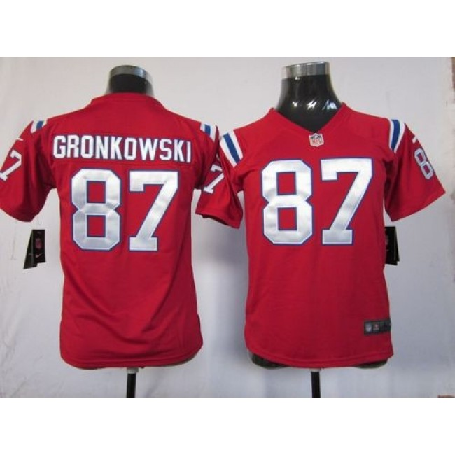 New England Patriots #87 Rob Gronkowski Red Alternate Youth Stitched NFL Elite Jersey