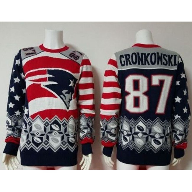 Nike Patriots #87 Rob Gronkowski Red/Navy Blue Men's Ugly Sweater