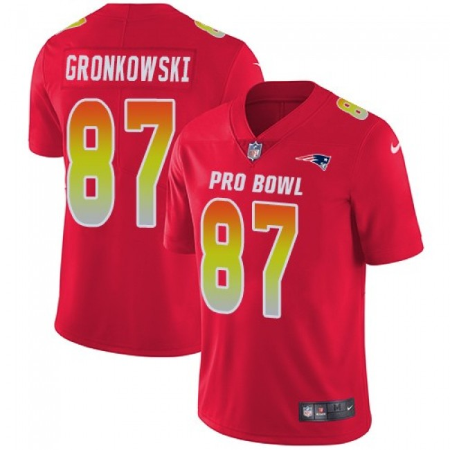 New England Patriots #87 Rob Gronkowski Red Youth Stitched NFL Limited AFC 2018 Pro Bowl Jersey
