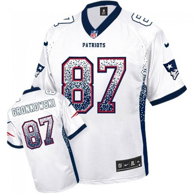 Nike Patriots #87 Rob Gronkowski White Men's Stitched NFL Elite Drift Fashion Jersey
