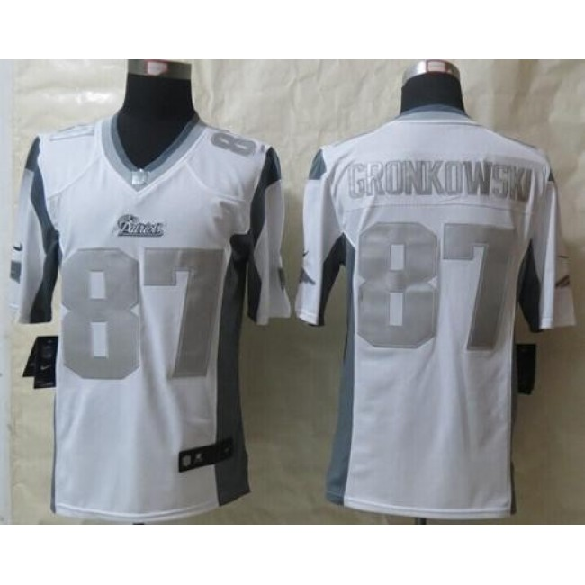 Nike Patriots #87 Rob Gronkowski White Men's Stitched NFL Limited Platinum Jersey