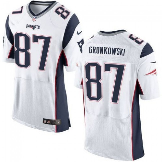 Nike Patriots #87 Rob Gronkowski White Men's Stitched NFL New Elite Jersey
