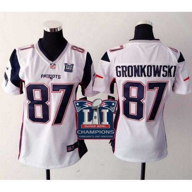 Women's Patriots #87 Rob Gronkowski White Super Bowl LI Champions Stitched NFL New Elite Jersey