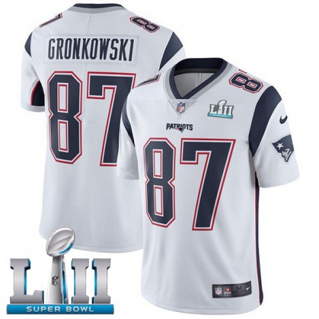 New England Patriots #87 Rob Gronkowski White Super Bowl LII Youth Stitched NFL Vapor Untouchable Limited Jersey