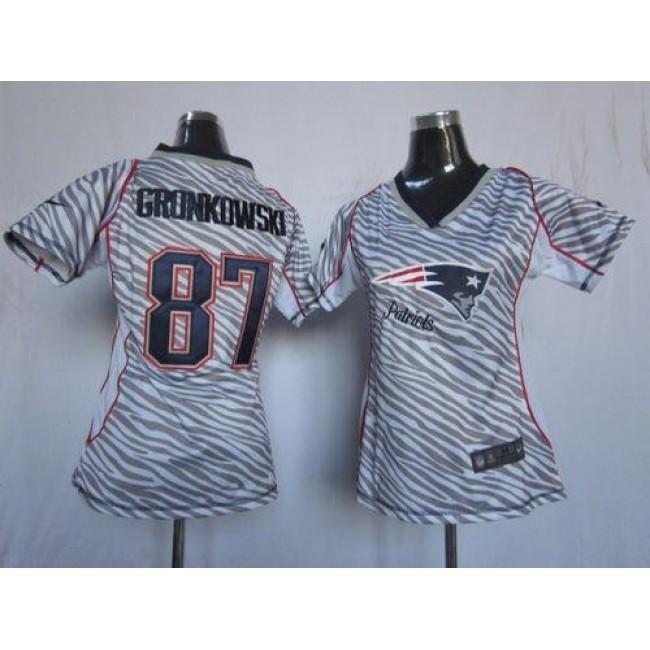 Women's Patriots #87 Rob Gronkowski Zebra Stitched NFL Elite Jersey