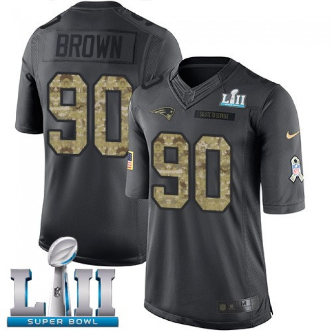 New England Patriots #90 Malcom Brown Black Super Bowl LII Youth Stitched NFL Limited 2016 Salute to Service Jersey
