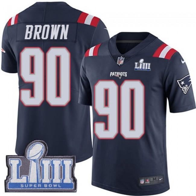 Nike Patriots #90 Malcom Brown Navy Blue Super Bowl LIII Bound Men's Stitched NFL Limited Rush Jersey