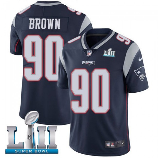 New England Patriots #90 Malcom Brown Navy Blue Team Color Super Bowl LII Youth Stitched NFL Vapor Untouchable Limited Jersey
