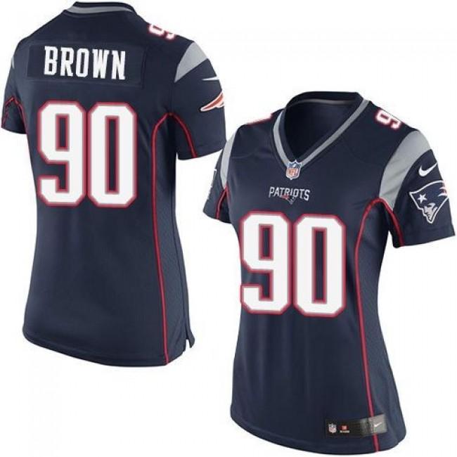 Women's Patriots #90 Malcom Brown Navy Blue Team Color Stitched NFL New Elite Jersey