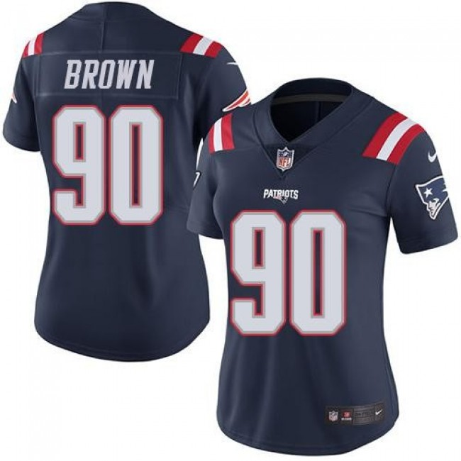 Women's Patriots #90 Malcom Brown Navy Blue Stitched NFL Limited Rush Jersey