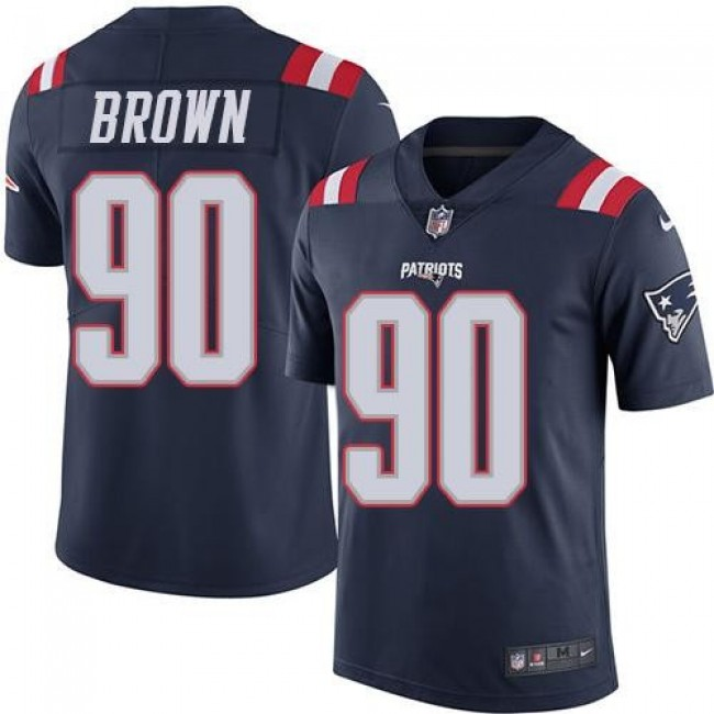 New England Patriots #90 Malcom Brown Navy Blue Youth Stitched NFL Limited Rush Jersey