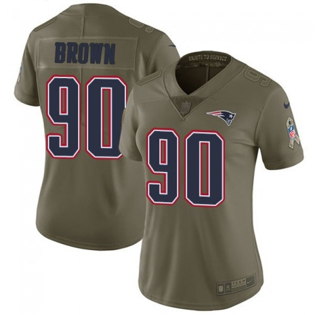 Women's Patriots #90 Malcom Brown Olive Stitched NFL Limited 2017 Salute to Service Jersey