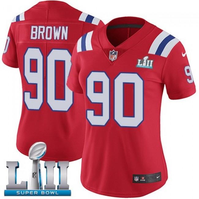Women's Patriots #90 Malcom Brown Red Alternate Super Bowl LII Stitched NFL Vapor Untouchable Limited Jersey