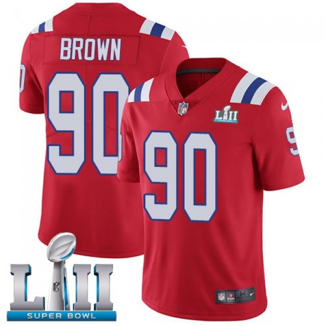 New England Patriots #90 Malcom Brown Red Alternate Super Bowl LII Youth Stitched NFL Vapor Untouchable Limited Jersey