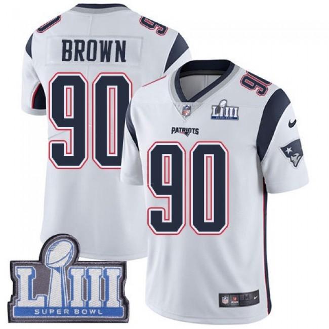 Nike Patriots #90 Malcom Brown White Super Bowl LIII Bound Men's Stitched NFL Vapor Untouchable Limited Jersey