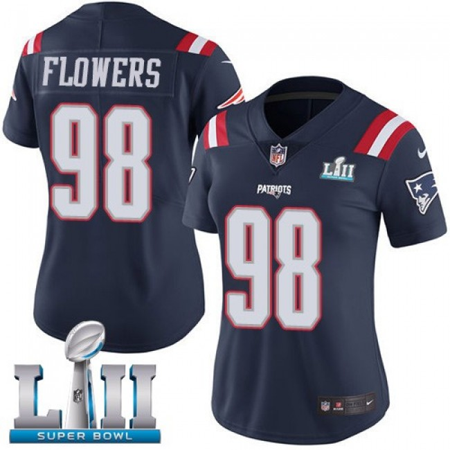 Women's Patriots #98 Trey Flowers Navy Blue Super Bowl LII Stitched NFL Limited Rush Jersey
