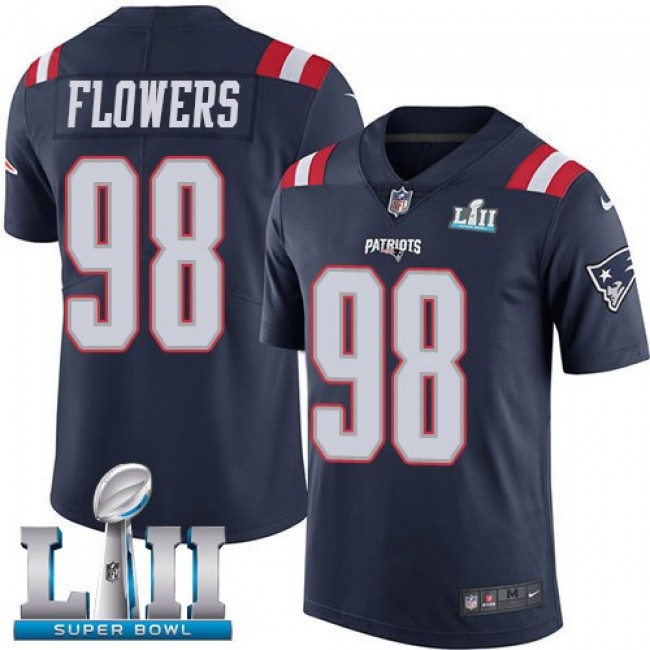 New England Patriots #98 Trey Flowers Navy Blue Super Bowl LII Youth Stitched NFL Limited Rush Jersey