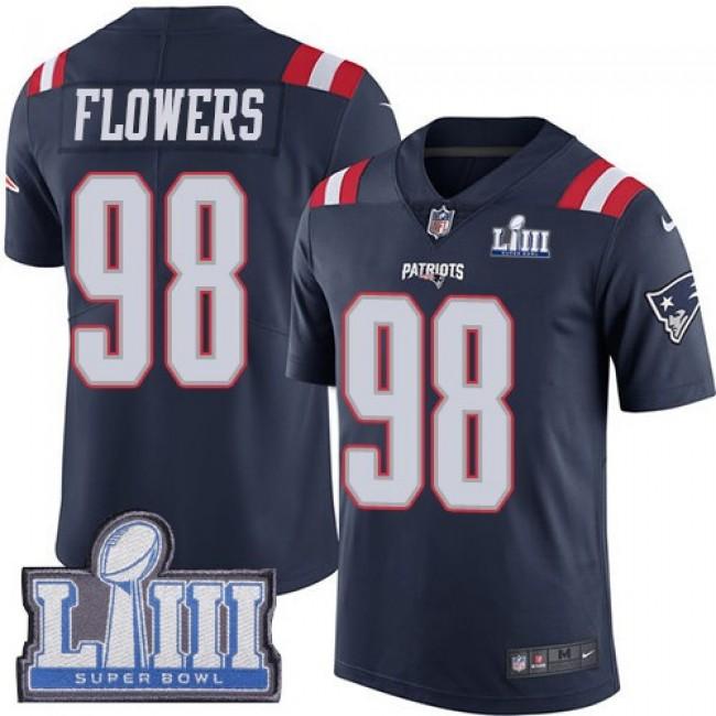 Nike Patriots #98 Trey Flowers Navy Blue Super Bowl LIII Bound Men's Stitched NFL Limited Rush Jersey