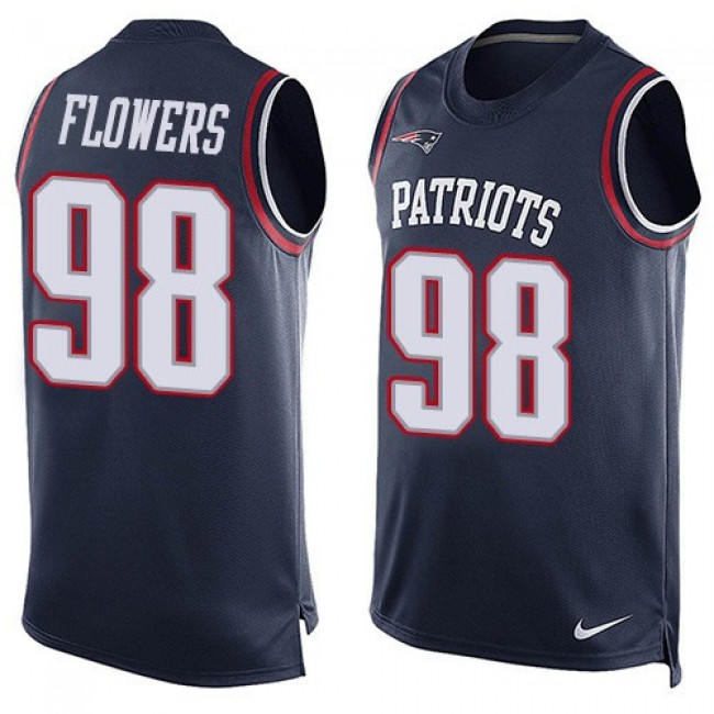 Nike Patriots #98 Trey Flowers Navy Blue Team Color Men's Stitched NFL Limited Tank Top Jersey