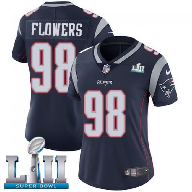 Women's Patriots #98 Trey Flowers Navy Blue Team Color Super Bowl LII Stitched NFL Vapor Untouchable Limited Jersey