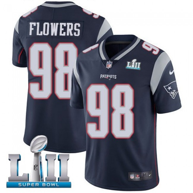 New England Patriots #98 Trey Flowers Navy Blue Team Color Super Bowl LII Youth Stitched NFL Vapor Untouchable Limited Jersey