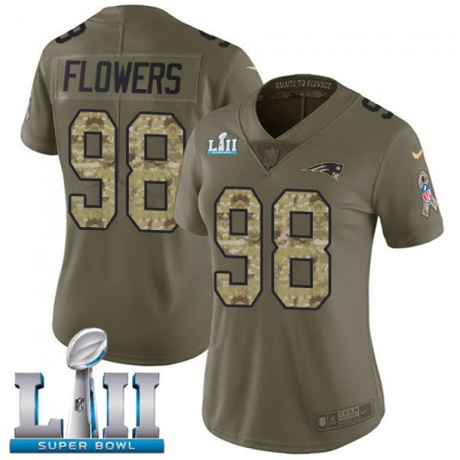 Women's Patriots #98 Trey Flowers Olive Camo Super Bowl LII Stitched NFL Limited 2017 Salute to Service Jersey