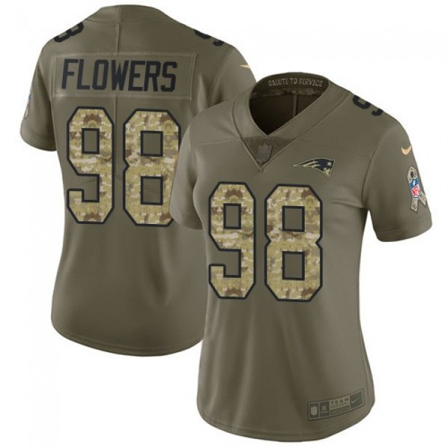 Women's Patriots #98 Trey Flowers Olive Camo Stitched NFL Limited 2017 Salute to Service Jersey
