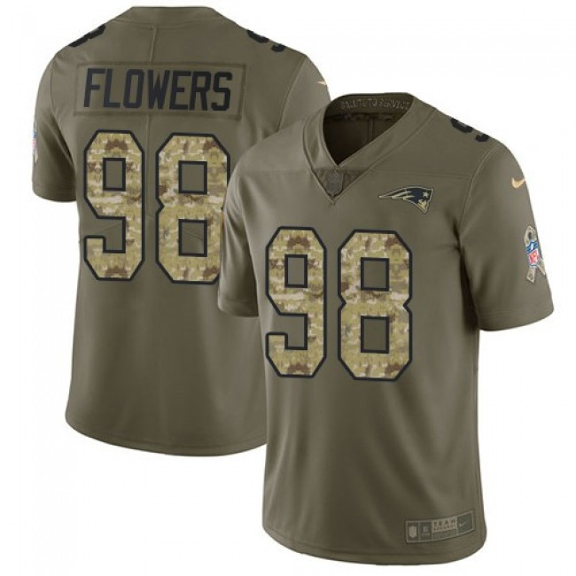 New England Patriots #98 Trey Flowers Olive-Camo Youth Stitched NFL Limited 2017 Salute to Service Jersey