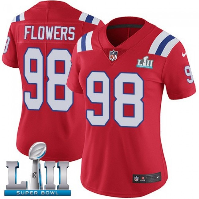 Women's Patriots #98 Trey Flowers Red Alternate Super Bowl LII Stitched NFL Vapor Untouchable Limited Jersey