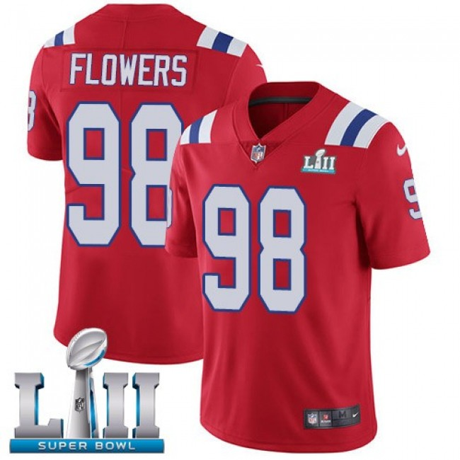 New England Patriots #98 Trey Flowers Red Alternate Super Bowl LII Youth Stitched NFL Vapor Untouchable Limited Jersey