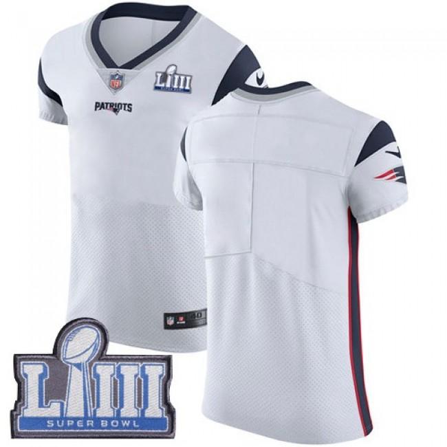 Nike Patriots Blank White Super Bowl LIII Bound Men's Stitched NFL Vapor Untouchable Elite Jersey
