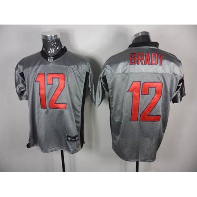 Patriots #12 Tom Brady Grey Shadow Stitched NFL Jersey