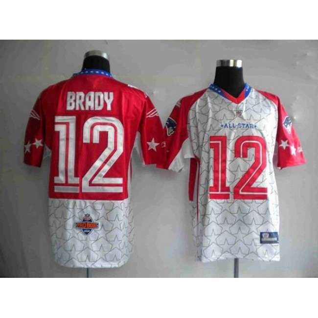 Patriots #12 Tom Brady Red 2010 Pro Bowl Stitched NFL Jersey