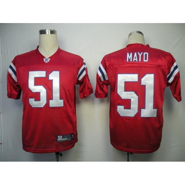 Patriots #51 Jerod Mayo Red Stitched Alternate NFL Jersey