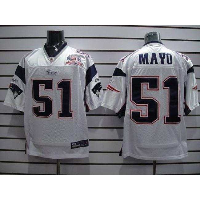 Patriots #51 Jerod Mayo White Stitched NFL Jersey